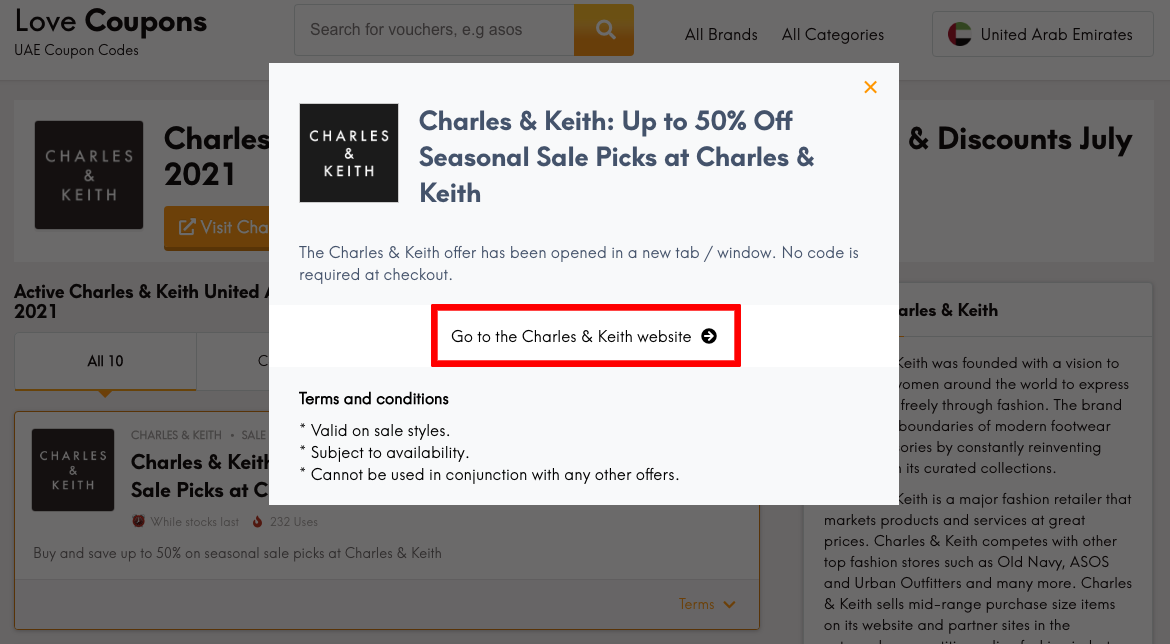 Charles & Keith AE Get Coupon