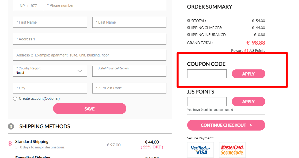 How do I use my JJ'S HOUSE coupon code?