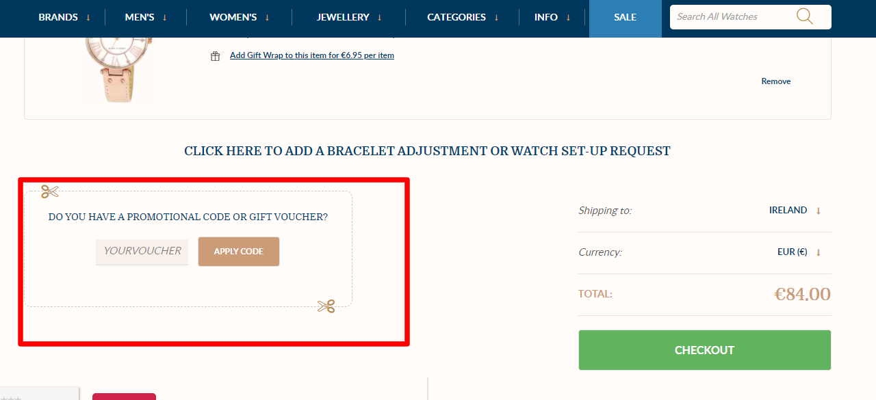 How do I use my FIRST CLASS WATCHES promotional code?