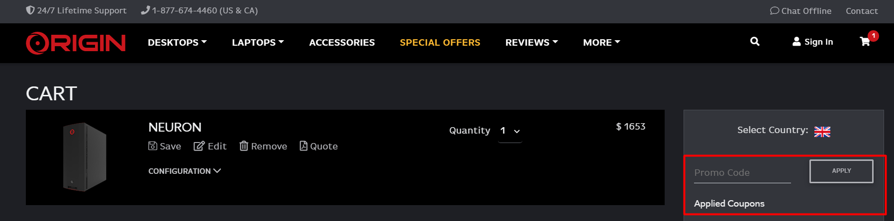 How do I use my ORIGIN PC discount code?