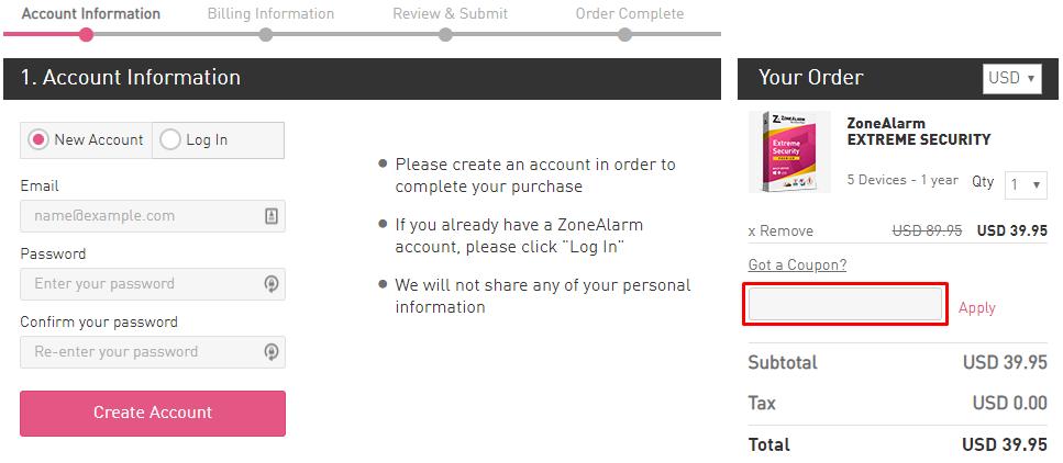 How do I use my ZoneAlarm coupon code?
