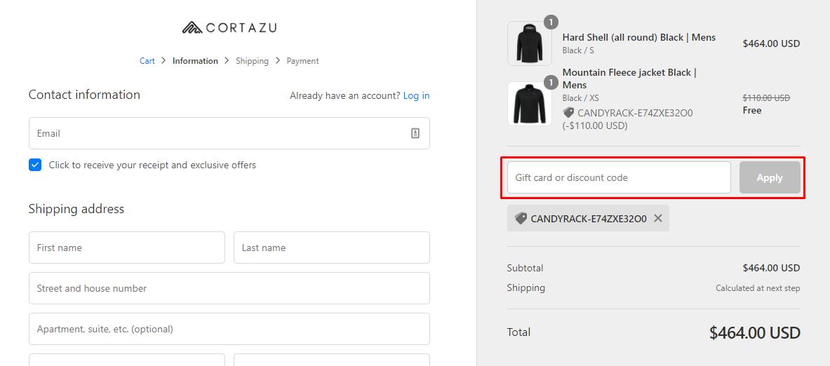 How do I use my Cortazu discount code?