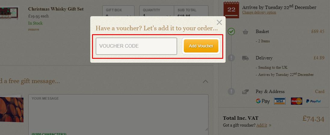How do I use my Master of Malt voucher code?