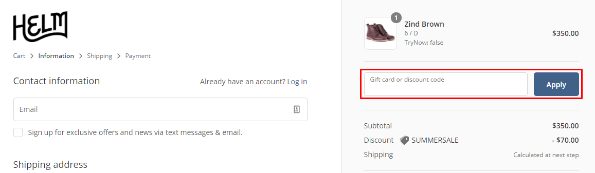 How do I use my HELM Boots discount code?