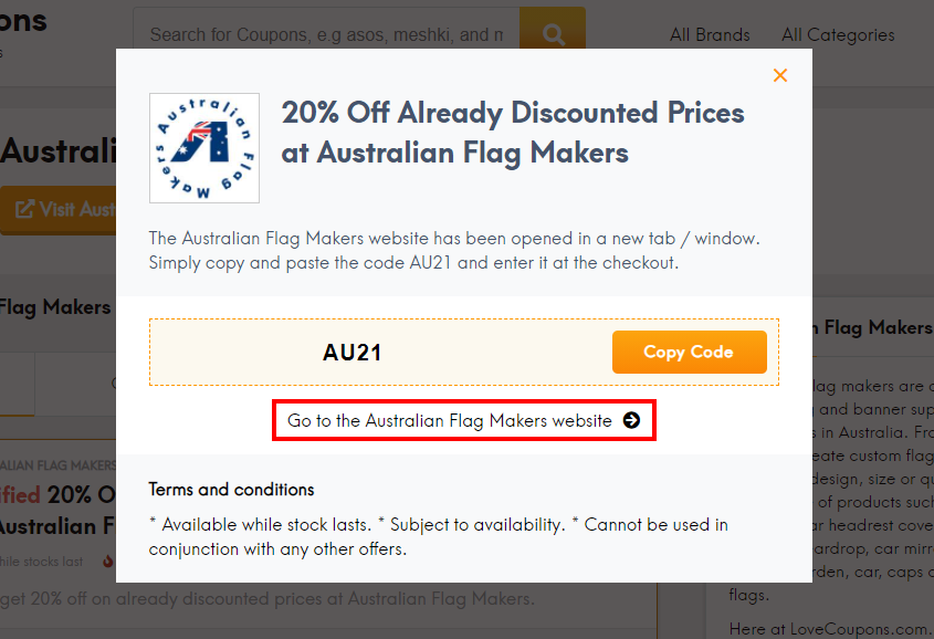 How do I use my Australian Flag Makers coupon code?