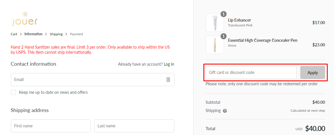 How do I use my Jouer discount code?
