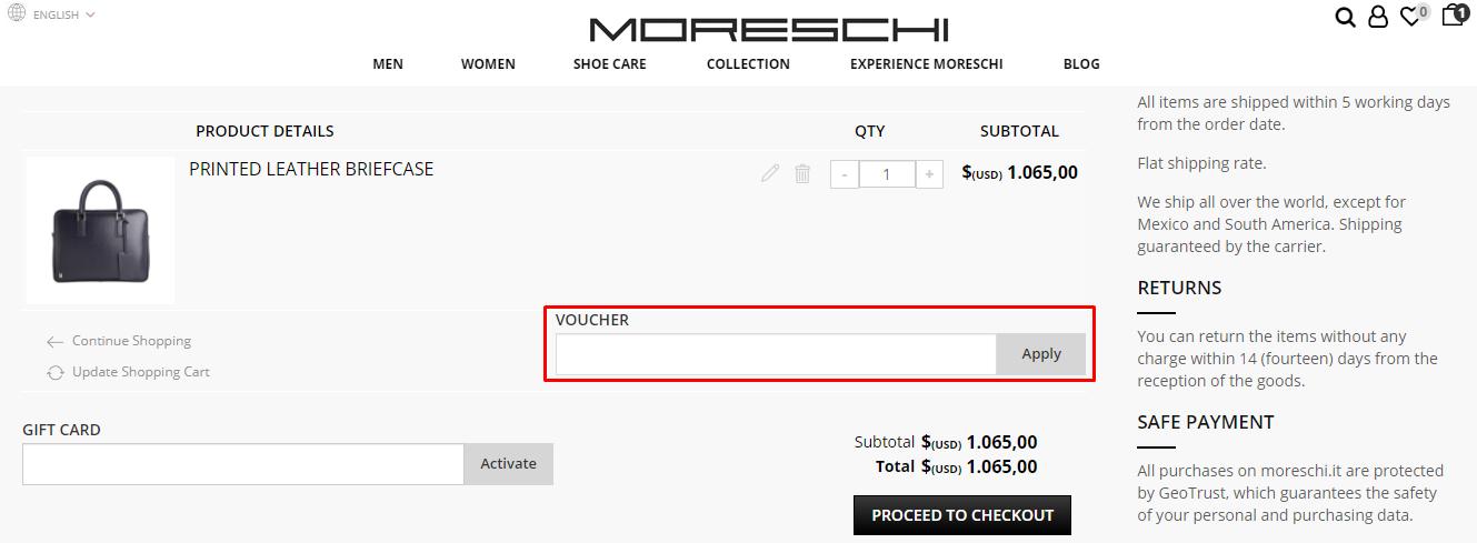 How do I use my Moreschi voucher code?