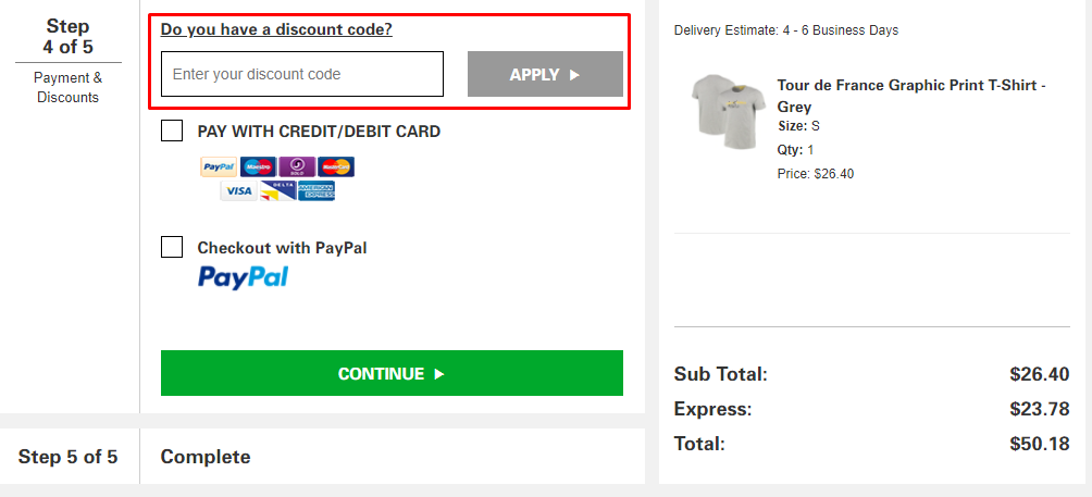How do I use my Le Tour de France discount code?