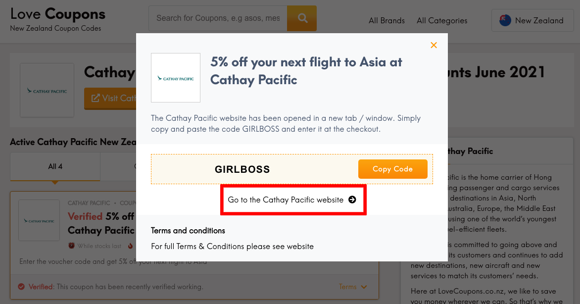 Cathay Pacific NZ Get Coupon