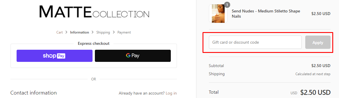 How do I use my Matte Collection discount code?