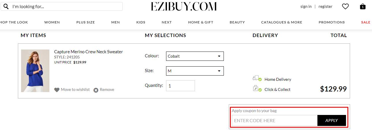 How do I use my Ezibuy coupon code?