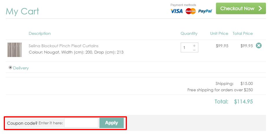 How do I use my Curtain Wonderland discount code?