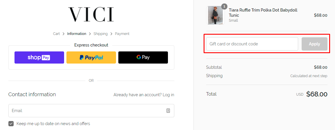 How do I use my VICI discount code?