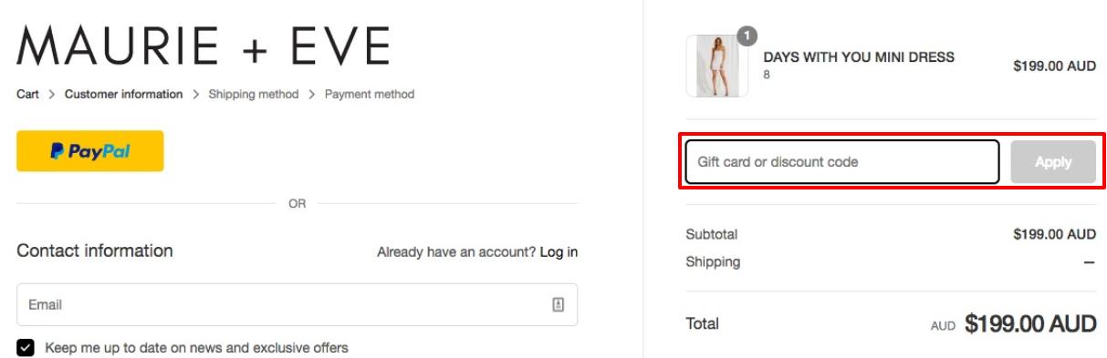 How do I use my Maurie & Eve discount code?