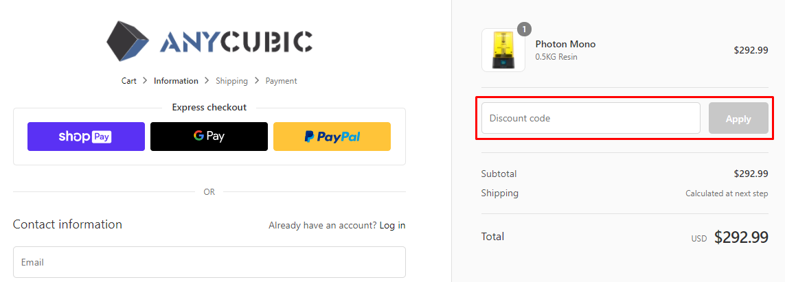 How do I use my Anycubic discount code?