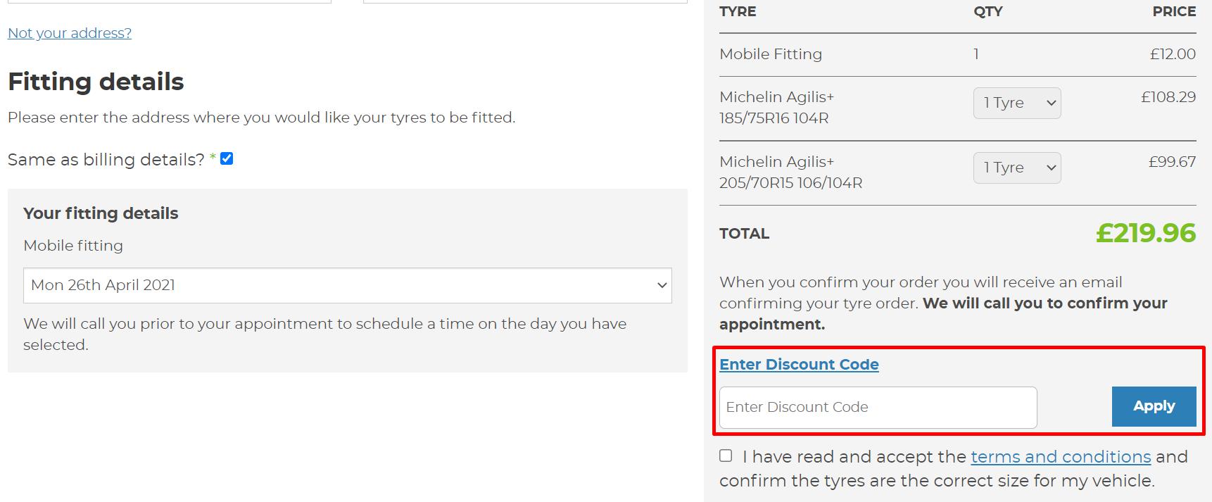How do I use my Asda Tyres discount code?