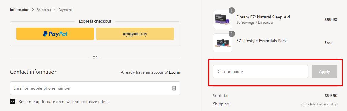How do I use my EZ Lifestyle discount code?