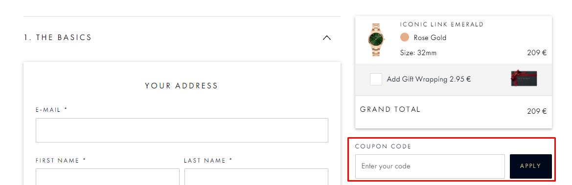 How do I use my Daniel Wellington coupon code?