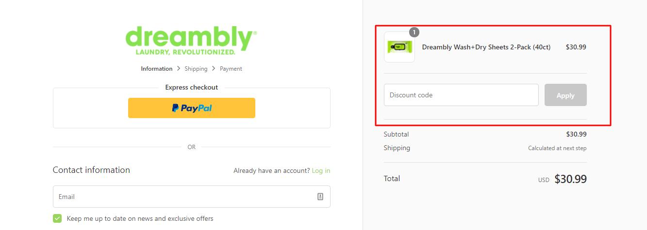 How do I use my Dreambly discount code?