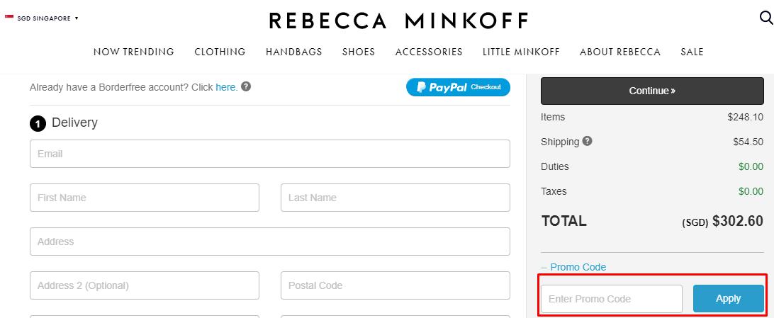 How do I use my Rebecca Minkoff promo code?
