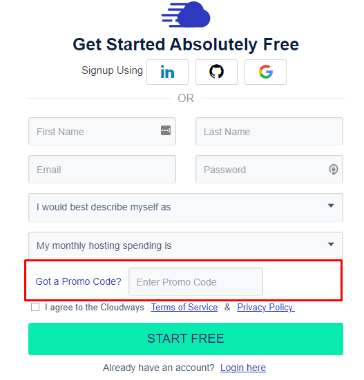 How do I use my Cloudways promo code?