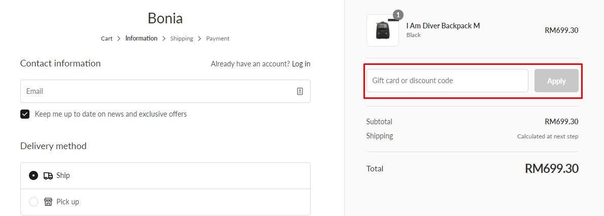 How do I use my Bonia discount code?