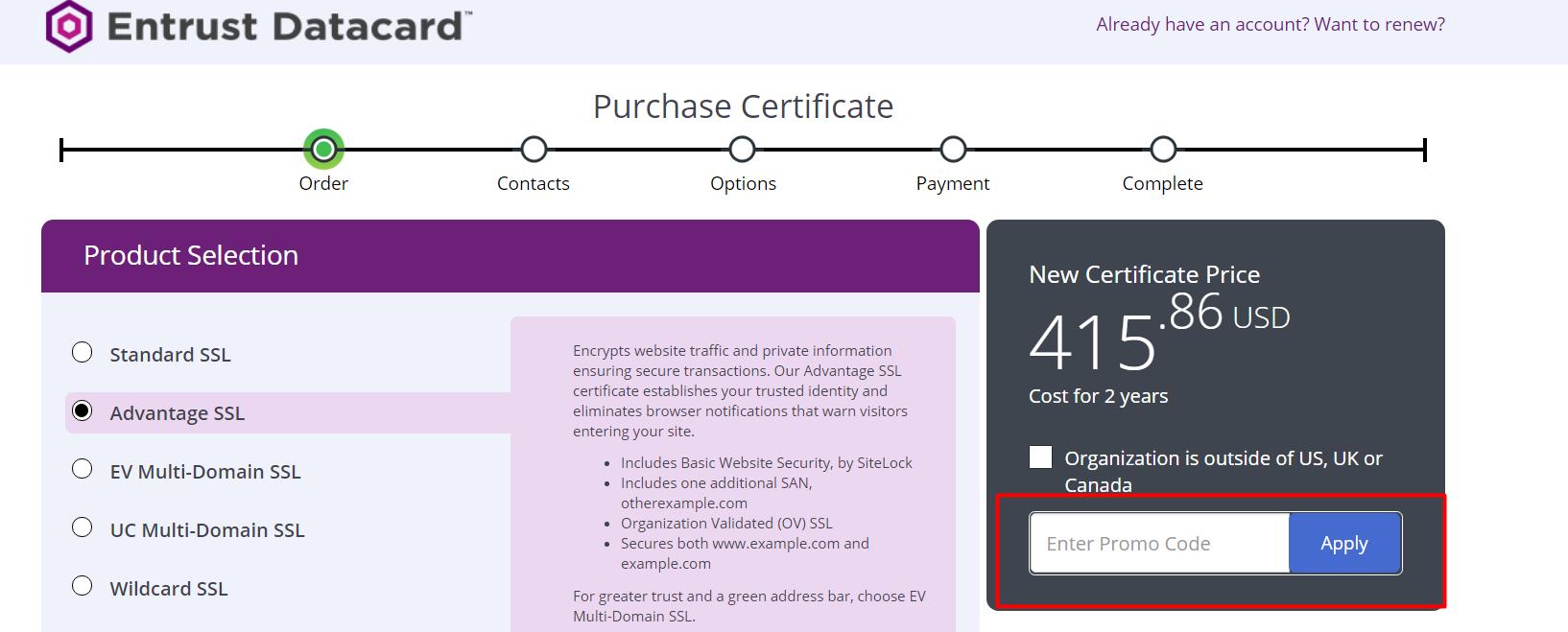 How do I use my Entrust Datacard discount code?