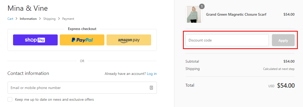 How do I use my Mina & Vine discount code?