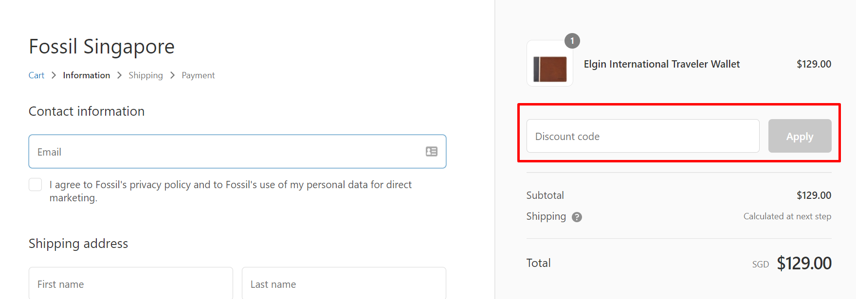 How do I use my Fossil discount code?
