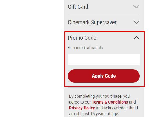 How do I use my Cinemark promo code?