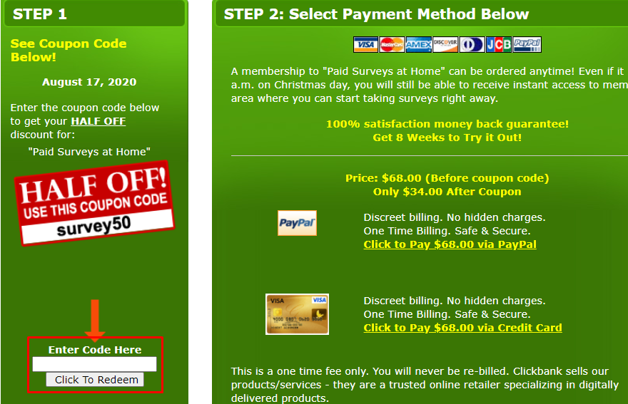 How do I use my Paid Surveys at Home coupon code?