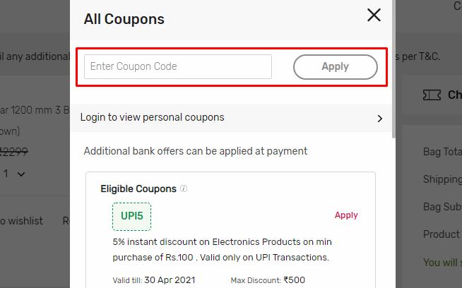 How do I use my Tata Cliq coupon code?