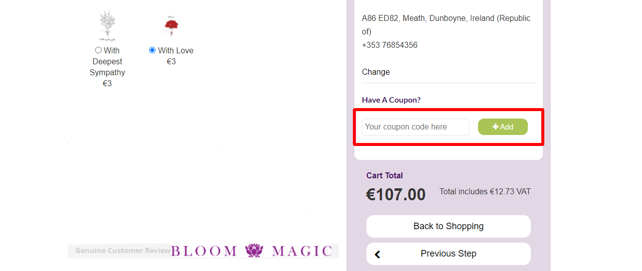 Bloom Magic IE Checkout