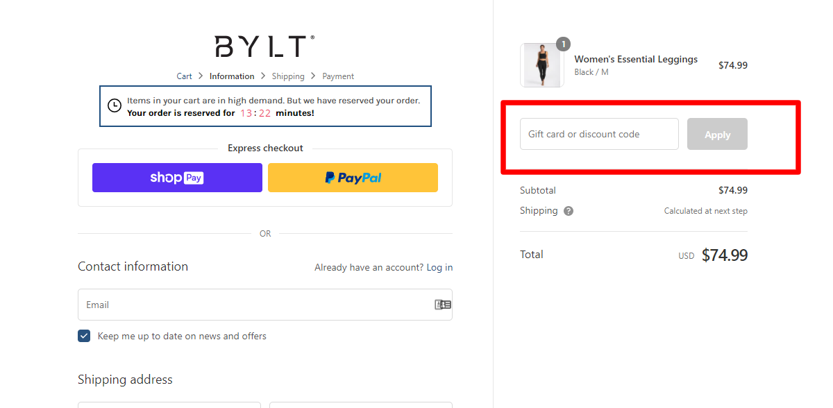 How do I use my BYLT PREMIUM BASICS discount code?