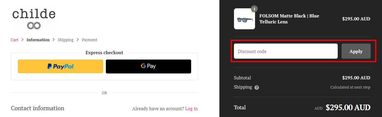 How do I use my Childe discount code?