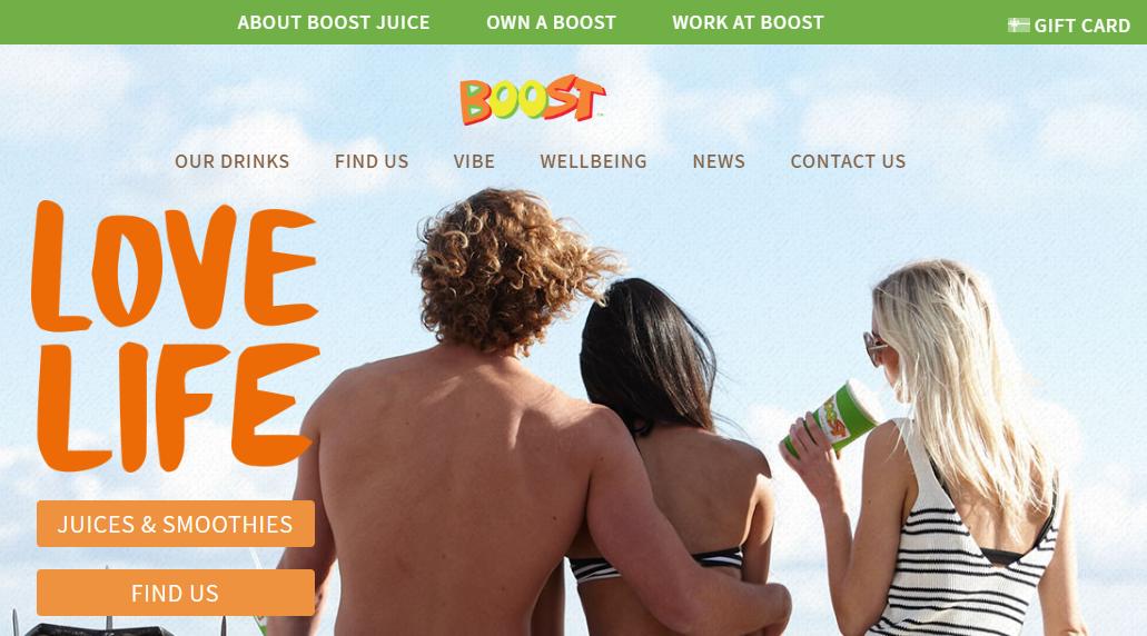 Boost Juice Homepage