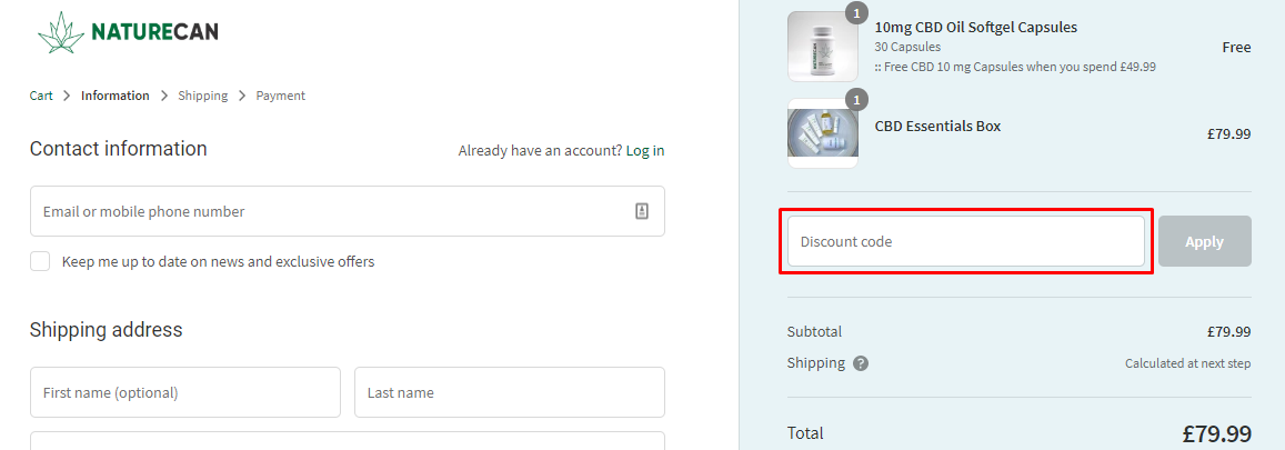 How do I use my Naturecan discount code?
