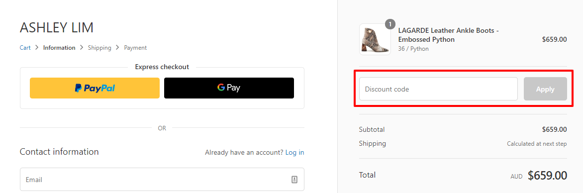 How do I use my ASHLEY LIM discount code?