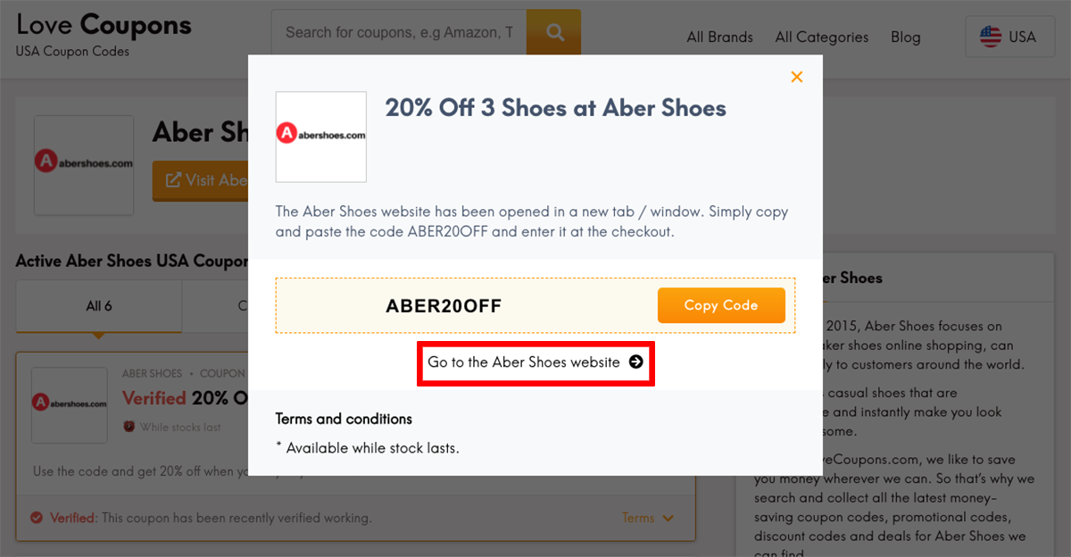 Abershoes US Get Coupon