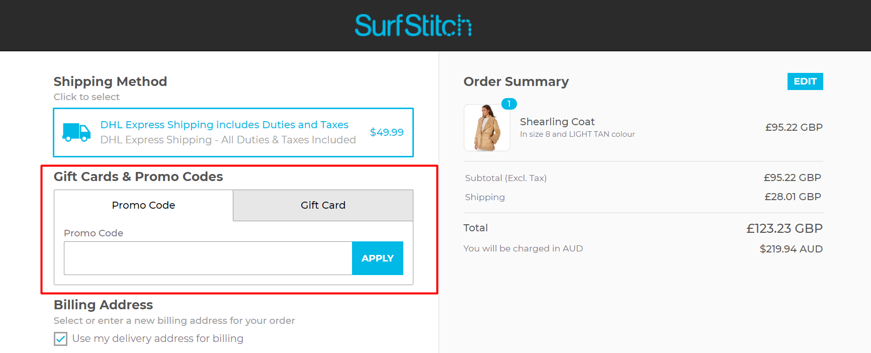 How do I use my SurfStitch discount code?