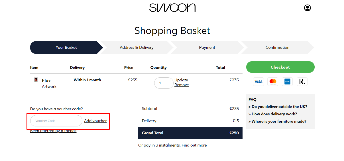How do I use my Swoon discount code?