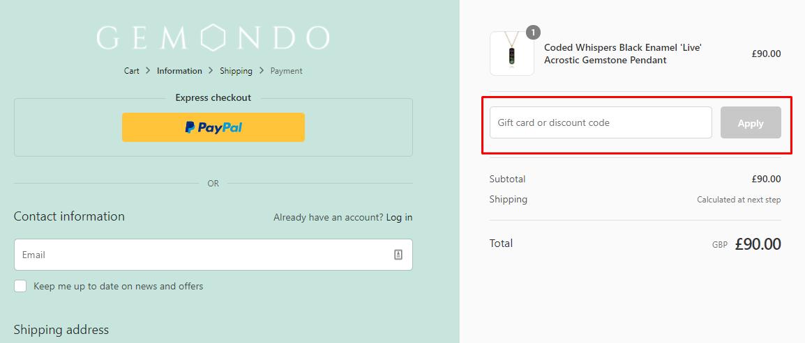 How do I use my Gemondo discount code?