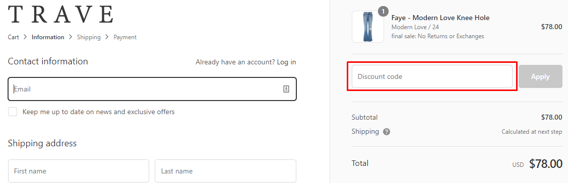 How do I use my TRAVE coupon code?