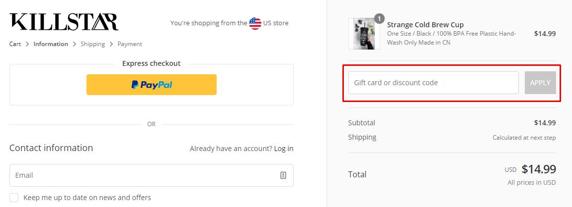 How do I use my Killstar discount code?