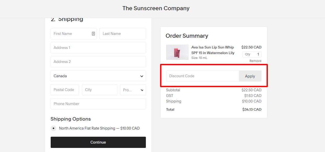 How do I use my THE SUNSCREEN COMPANY discount code?
