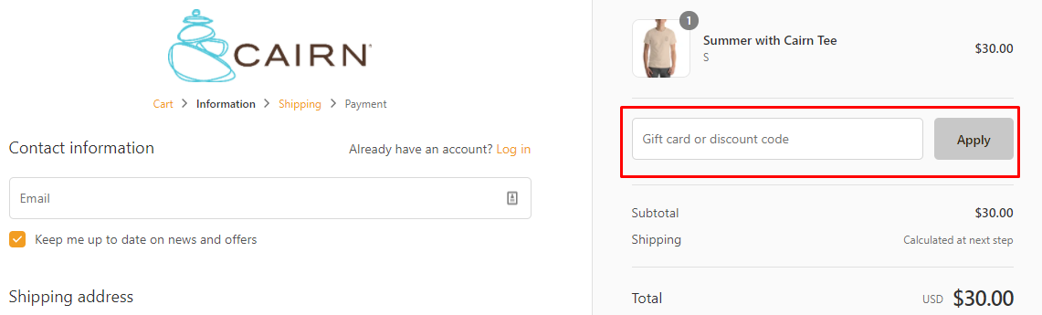 How do I use my Cairn discount code?