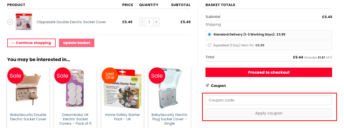How do I use my Baby Security coupon code?