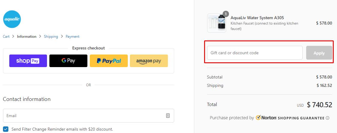How do I use my AquaLiv discount code?