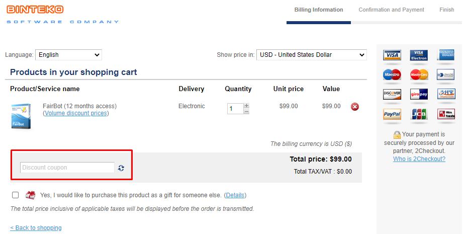 How do I use my Binteko Software Discount code?
