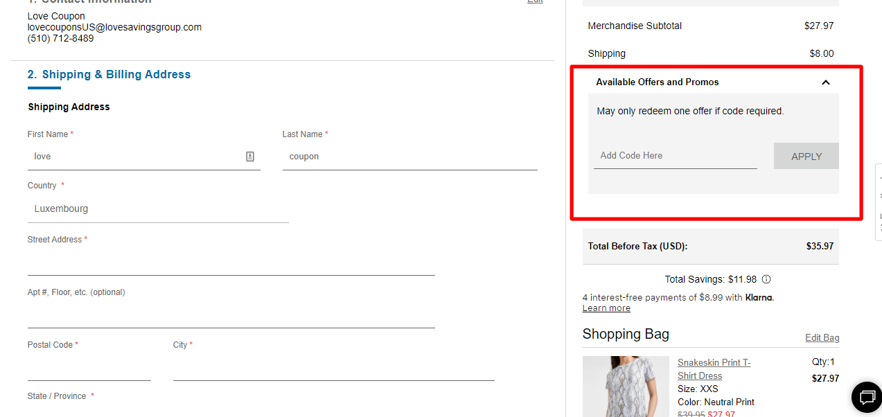 How do I use my EXPRESS FACTORY OUTLET promo code?